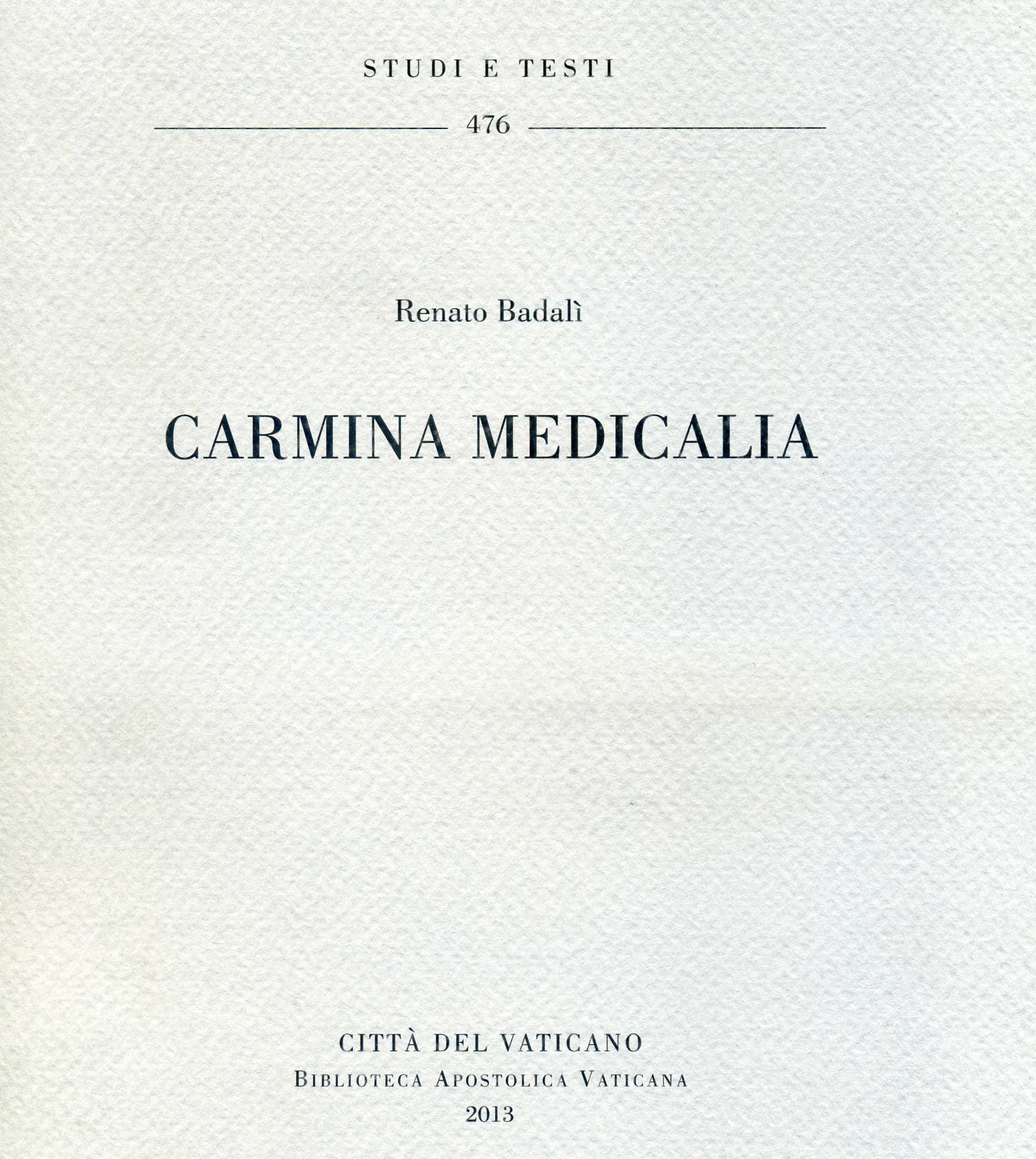 Carmina medicalia.